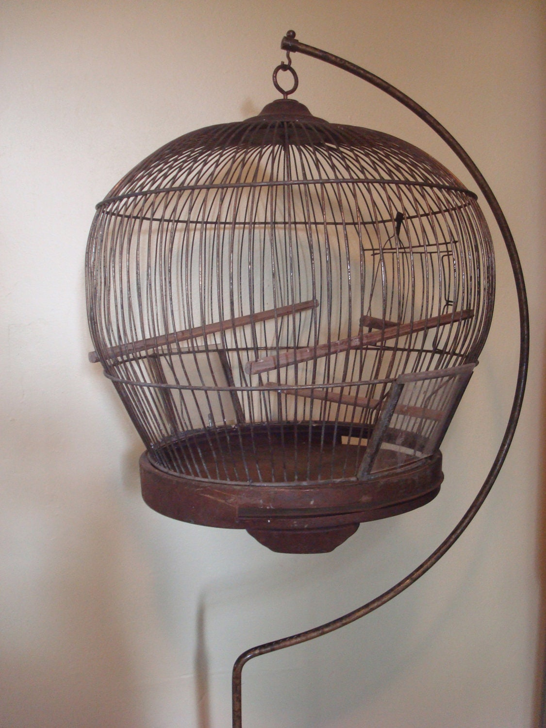 Antique Brass Art Deco Bird Cage And Stand 1924 Leon Company