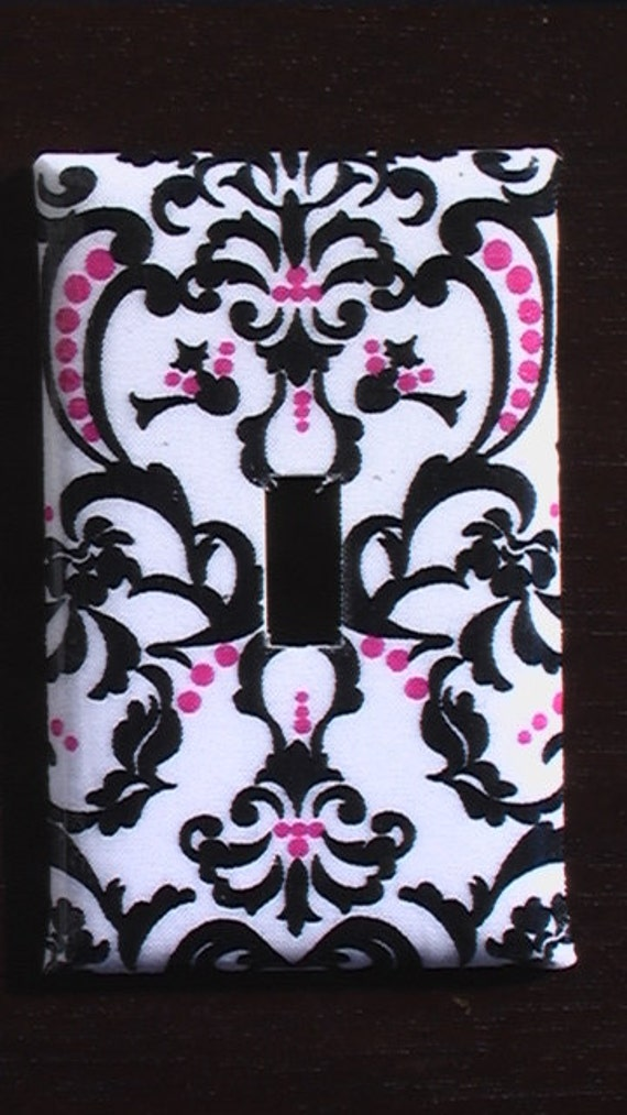Damask  Blue and White on Black Pink Blue Brown Red Single Toggle Light Switch Plate Cover