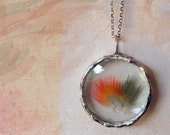Feather Necklace. Sterling Silver Chain. Genuine Orange Red Olive Green Macaw Feather Jewelry.