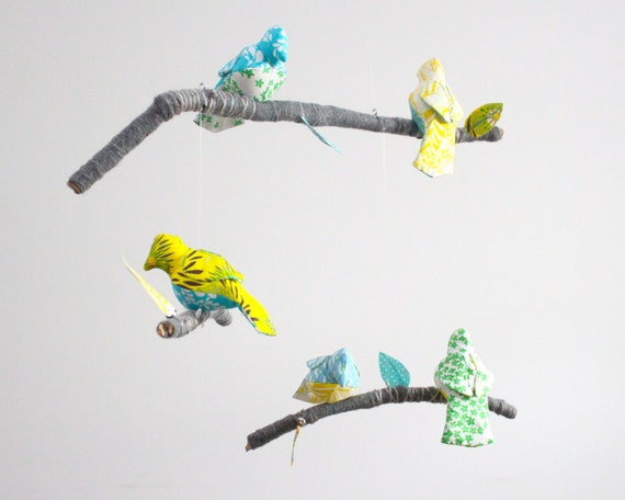 Baby Bird Mobile for Modern Nursery Decor - fabric sculpture on yarn wrapped branches in tuquoise, yellow, emerald green, gray, and white
