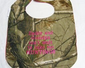 Daddy and Grandpa cant wait to take me HUNTING - Baby Bib - Large HOT PINK