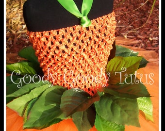 LITTLE MISS PUMPKIN Crocheted Tutu Dress with Greenery and Matching Pumpkin Cap - Small 12/18mos