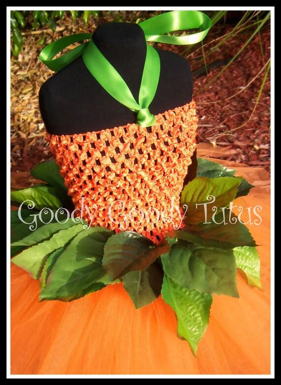 LITTLE MISS PUMPKIN Crocheted Tutu Dress with Greenery and Matching Pumpkin Cap - Small 12/18mos