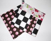 Cotton Pot Holders Set of 2, Black and White Checker,Pink Red Green
