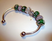 Cuff Bracelet with Green Beads n Key to My Heart - Heart Charm - Cuff Bracelet - No Clasp Design - For all ages - Lampwork Beads - .925