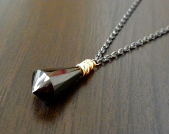 Ready To Ship - Chandelier Cut Black Spinel Drop Necklace