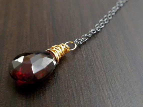 Listing for Dan Murdoch - Rhodalite Garnet Almond Cut Drop Necklace