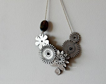 Silver Flower Necklace with Faceted Labrodorite Gemstone