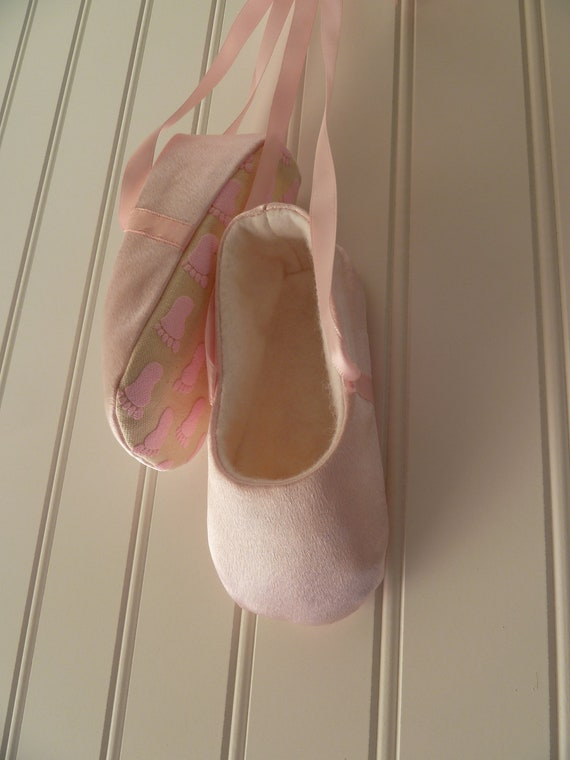 ballet slippers for baby in pink satin with by jibjabbers