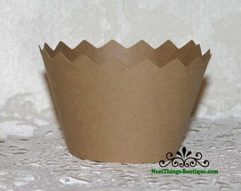 Kraft Brown Zig Zag Cupcake Wrappers Wraps 12