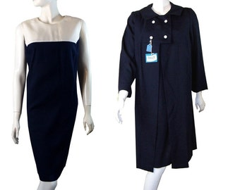 Vintage 1960s navy Dress with Matching Princess Coat Suit  Never Worn Size Large