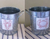 Hand-Stamped Crab Magnet or Lobster Magnet - Attach to a Pail for Crab Feast/Lobster Feast Discards