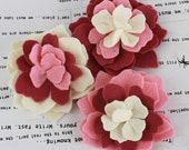 SALE CLEARANCE 25% off - Pink Poppies and Peonies Collection - Felt Flower Embellishments Fabric Flowers