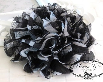 NEW COLOR : 1 pc Large Shabby Chic Frayed Chiffon Mesh and Lace Rose Fabric Flower - ZEBRA