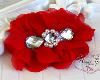 New: Reign Collection 2 pcs Silk Fabric Flowers with Rhinestones  - RED Lips floral embellishments Layered Bouquet fabric flowers