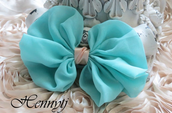 New to the Shop: 2 pcs Kimy Silk Fabric Bow Millinery for Bridal Sashes, Fascinator or Hat Design Appliques - Tiffany Green