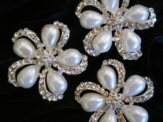 6 pcs - 26mm Silver Plated Rhinestone Pearl Buttons WITH Shank - wedding / hair / dress / garment accessories