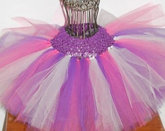 Purple White and Hot Pink Tutu, Girl's Tutu, Birthday Tutu, Flower Girl Tutu, Photo Prop Tutu, Purple and Pink Tutu, Tutu Costume, Baby Tutu