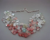 Triple Strand Sea Glass Beads on Gun Metal Chain