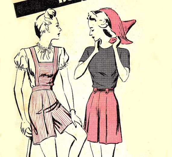 1940s Vintage Womens High Waist Shorts Pattern Butterick 2881 Waist 26 Hip 36