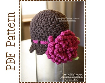 Crochet Flower Headband Hat Pattern, 8 Sizes from Newborn to Adult, DELILA - pdf 222