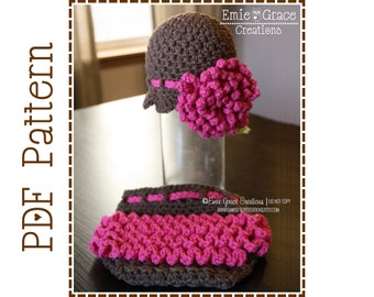 Crochet Flower Hat and Ruffle Diaper Cover Patterns, DELILA and KENNEDY - pdf 222, 710