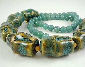 Porcelain Statement Necklace Gemstone Necklace Quartz Gemstone Necklace Blue Green Beaded Necklace Large Bead Necklace Porcelain Strand