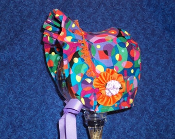 Winter Baby Bonnet with Fleece Bright Abstract