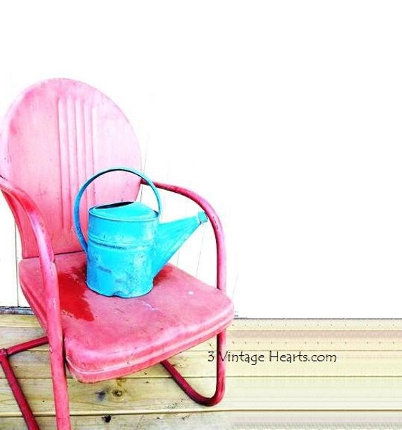 Vintage Metal Lawn Chair. 1950s Retro Patio Summer Chairs. Photography Print. Route 66  Motel Classics