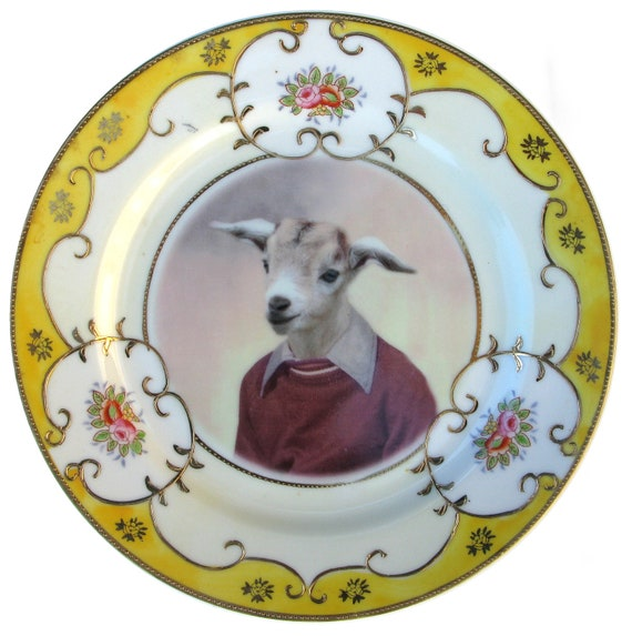 Billy Goat Portrait Plate - Altered Vintage Plate