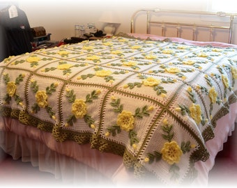 Wild Yellow Roses Crocheted Afghan Blanket Throw - Made fresh after sale - 36 squares