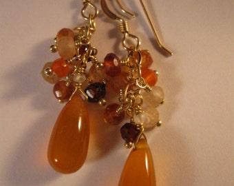 Gemstone Cluster Earrings,drop earrings,dangle earrings,gold earrings,gemstone earrings, chalcedony earrings, cluster gemstone