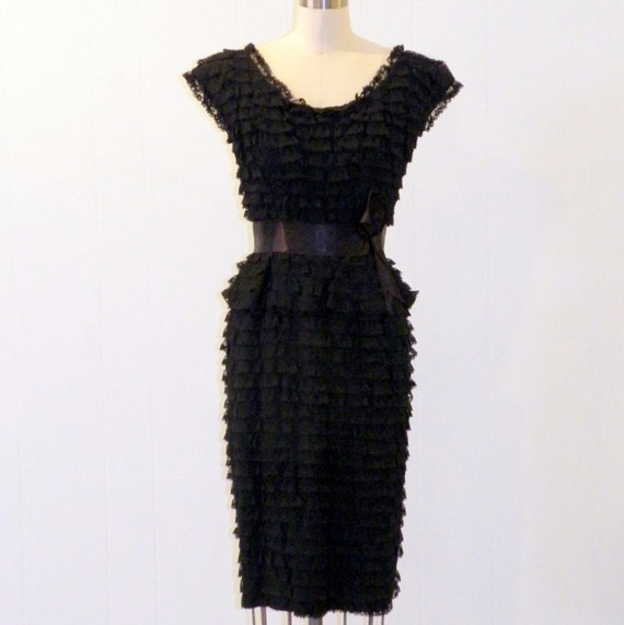 Vintage 1960s Wiggle Dress, 60s Black Tiered Lace Cocktail Party Dress, Bombshell Mad Men Shutter Dress, Lytton's LBD