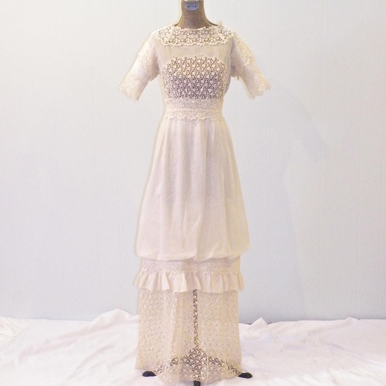 Edwardian Dress 1900s 1910s Antique Crochet Lace By