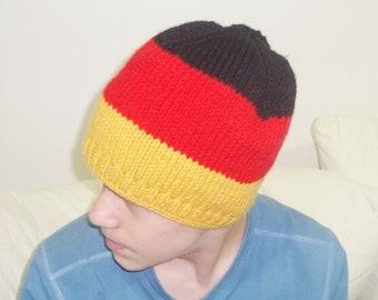 Knit Germany Flag Hat for Men or Women Hat in Black Red Yellow Beanie German Teacher Gift - Deutsch Flagge Hut Mütze