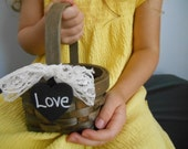 Small Rustic Flower Girl Basket with Mini Wood or Chalkboard Tag You Personalize shown with lace bow - astylishdesign