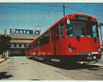 San Diego Red Trolley Santa Fe Train Depot CA postcard