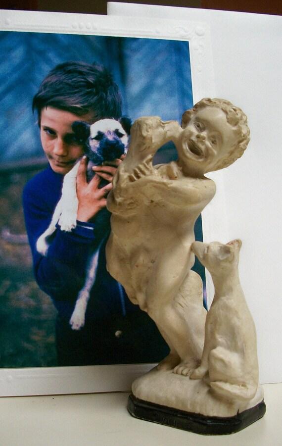 Vintage Plaster Figurine - Puppy Love