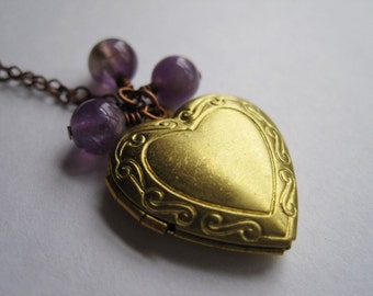 Brass Heart Locket Necklace Heart Locket Charm Photo Locket Necklace Amethyst Rounds Vintage Brass Locket February Birthstone Valentines Day