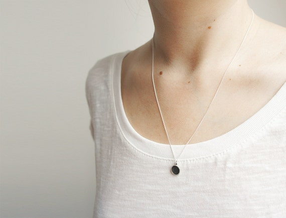 UNDER THIS MOON / Silver Necklace - Personalised lunar phase charm of your special night, solar eclipse, delicate, astronomy, black