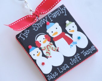 Personalized family snowman canvas, 4x4