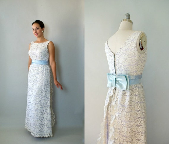 Vintage 1960s Mod Wedding Dress 60s Long Formal Lace Wedding