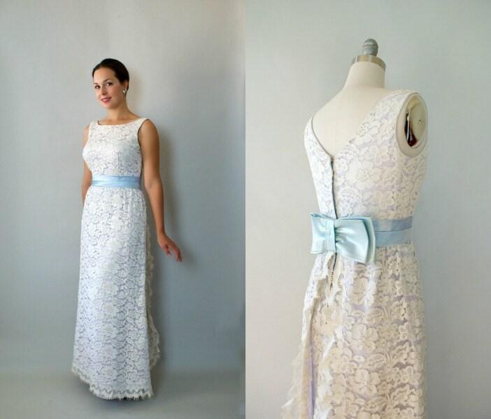 Vintage 1960s Wedding Dresses: Vintage 1960s Mod Wedding Dress 60s Long Formal Lace Wedding