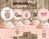 Baby Shower Party Printables - WOODLAND OWL Cupcake Toppers and Wrappers PERSONALIZED