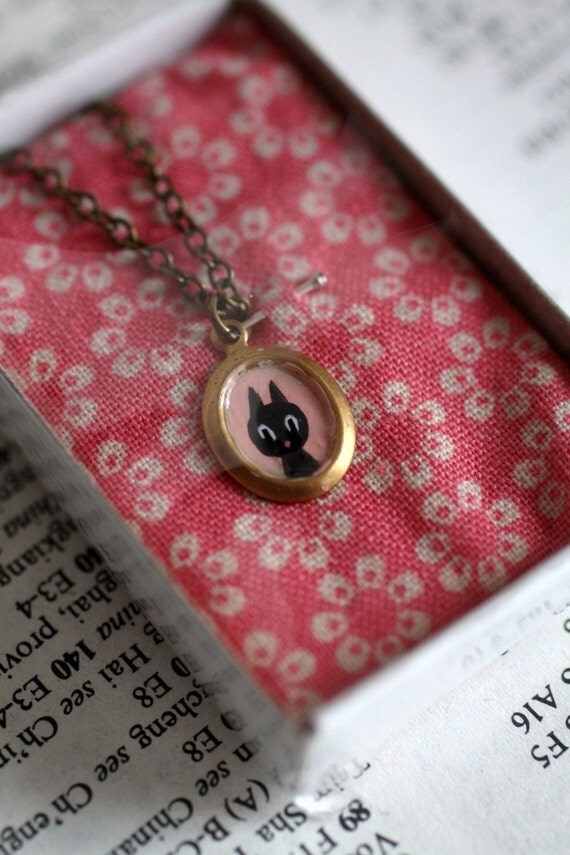 Baby, you are Spoiled - Black Kitty - original Blythe cameo necklace by Mab Graves