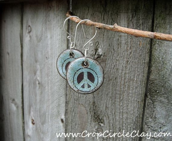 Flower Child Peace earrings - Handmade Ceramic Charms & Sterling Silver Ear Wires- Robins Egg Mint chocolate chip - BFF Gift