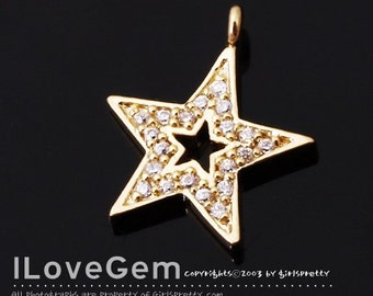 NP-1317 Gold plated over Brass, Star, CZ, pendant, 1pc