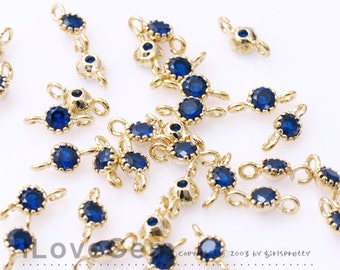 NP-1484 Gold plated, 3.5mm CZ, Connector, Birth Stone, Blue Sapphire, Montana, 2pcs