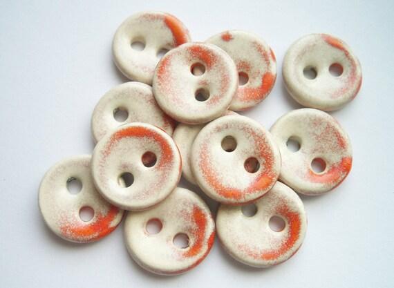 Tangerine Tango Kissed Ceramic Buttons