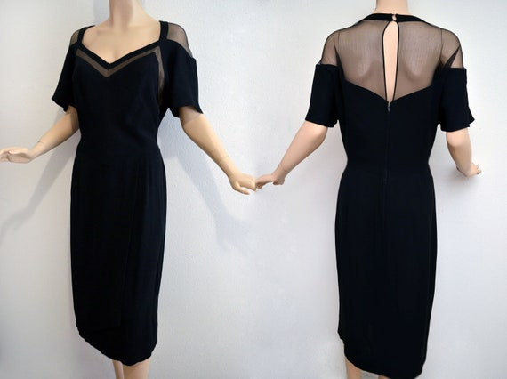 Vintage 50s Dress // 50s Black Crepe Cocktail Dress // Black Evening Dress by Lane Bryant XL